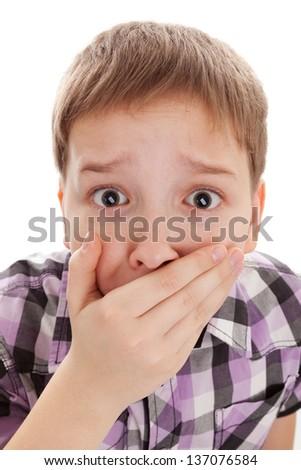 Scared Little Boy. Isolated on white background - stock photo