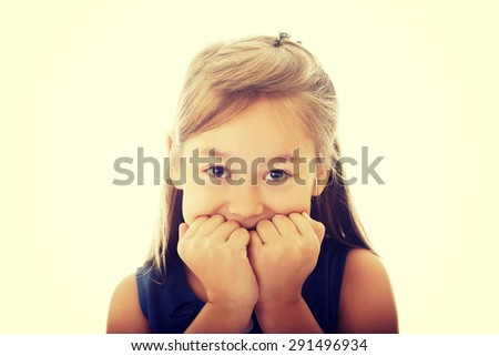 Scared Little Girl Biting Her
