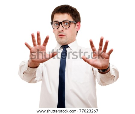 Scared man isolated over white. Focused on hand. - stock photo