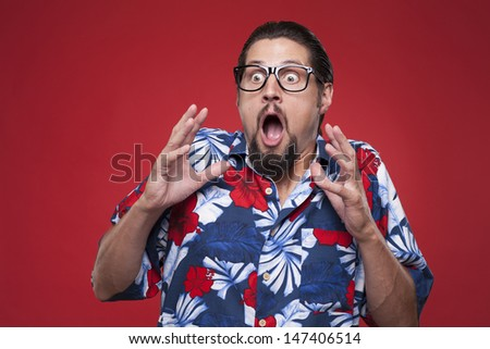 Scared man with mouth open  - stock photo
