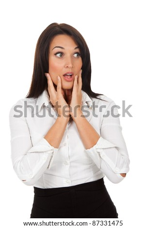 scared, terrified businesswoman , isolated over white background