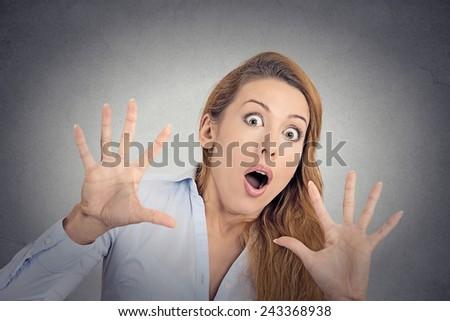 Scared woman  - stock photo