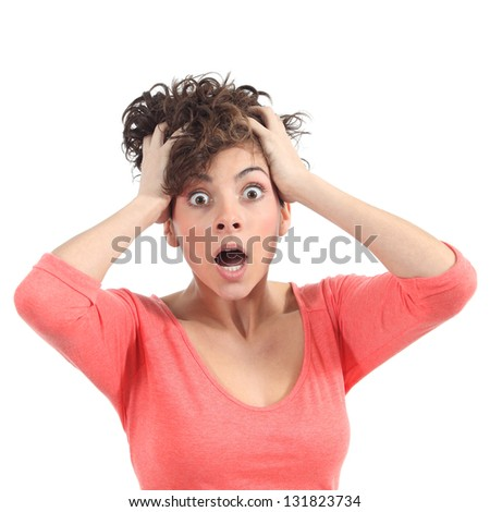 Scared woman with her hands on the head and opened mouth on a white isolated background - stock photo
