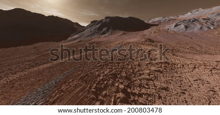 Scarified Martian uplands with igneous intrusions - stock photo