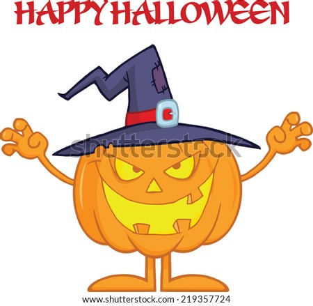 Scaring Halloween Pumpkin With A Witch Hat And Text. Raster Illustration - stock photo