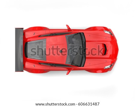 Scarlet red modern sports car - top down view - 3D Illustration
