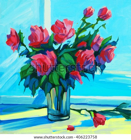 scarlet roses at  open window with a view of the sea, painting,  illustration