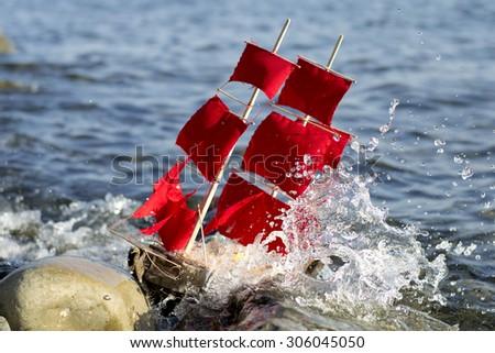 scarlet sails - stock photo