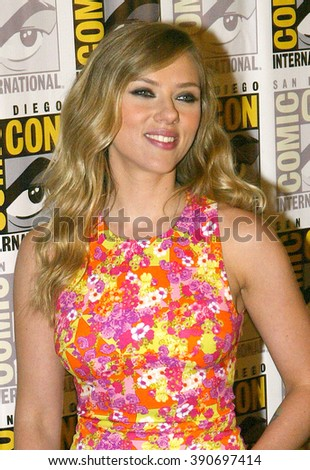 "Scarlett Johansson arrives at the 2013 Comic Con press room for Marvel's ""Captain America: The Winter Soldier"" at the Hilton Bayfront on July 20, 2013 in San Diego, CA."