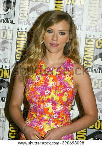 "Scarlett Johansson arrives at the 2013 Comic Con press room for Marvel's ""Captain America: The Winter Soldier"" at the Hilton Bayfront on July 20, 2013 in San Diego, CA. - stock photo"