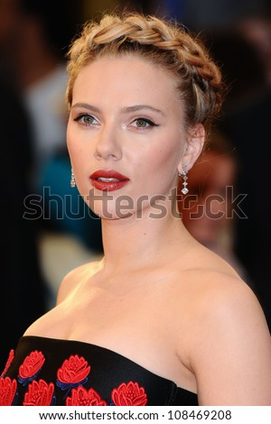 "Scarlett Johansson arrives for the ""Avengers Assemble"" premiere at the Vue cinema Westfield, London. 19/04/2012 Picture by: Steve Vas / Featureflash - stock photo"
