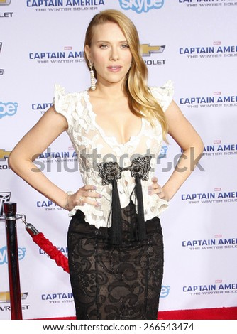 "Scarlett Johansson at the Los Angeles premiere of ""Captain America: The Winter Soldier"" held at the El Capitan Theatre in Los Angeles on March 13, 2014 in Los Angeles, California.  - stock photo"