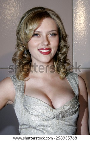 "Scarlett Johansson attends The DreamWorks SKG Premiere of ""Match Point"" held at The LACMA in Los Angeles, California on December 8, 2005.   - stock photo"