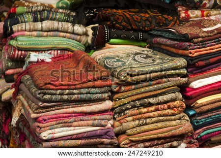Scarves in an Egyptian Market - stock photo