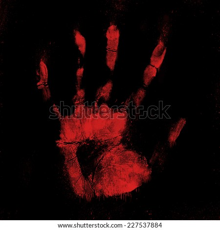 Scary bloody hand print on a black background  - stock photo
