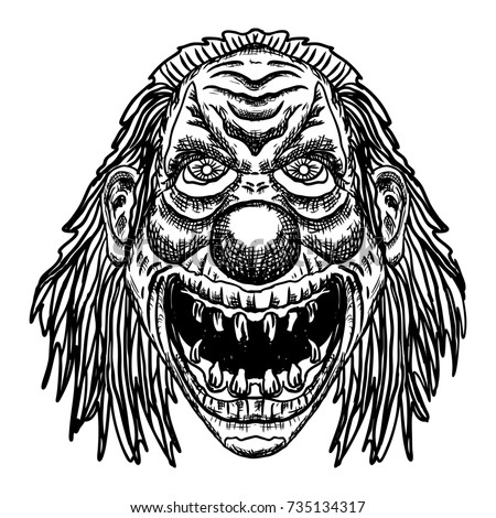 Scary cartoon clown illustration. Blackwork adult flesh tattoo concept. Horror movie zombie clown face character.