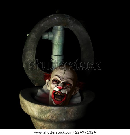 Scary Clown Popping Up - A scary clown popping up out of a dirty toilet.  Isolated on a black background. - stock photo