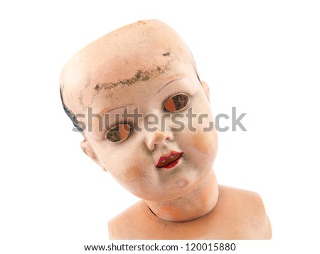 Scary doll face with clipping path - stock photo