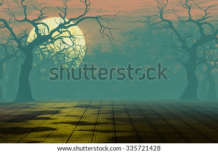 Scary forest at night background 3d rendering. - stock photo