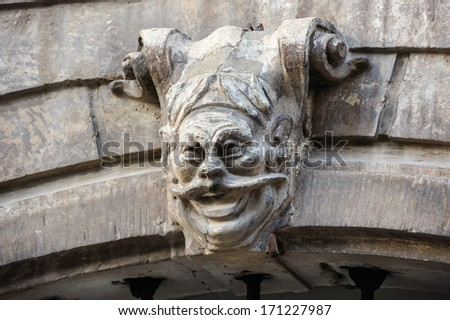 Scary gargoyle on the gateway in Lviv, Ukraine