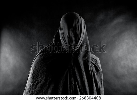 Scary ghost in the dark - stock photo