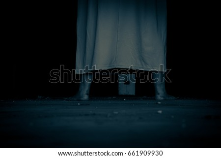 Scary Ghost Woman In Haunted House Horror Background