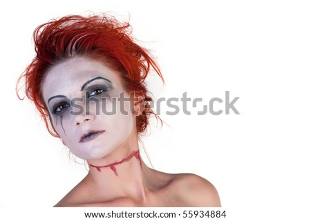 Scary girl posing on a white background
