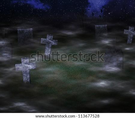 Scary Graveyard Background - stock photo