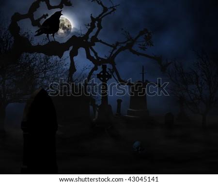 scary graveyard scene - stock photo