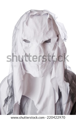 Scary halloween concept with monster on white