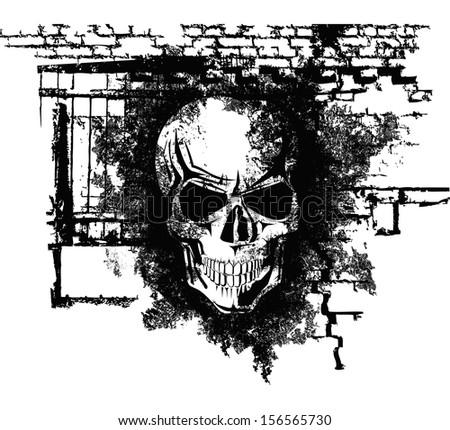 scary Halloween grunge skull with bricks  - stock photo
