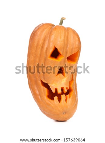 Scary halloween jack lantern. Isolated on a white background.
