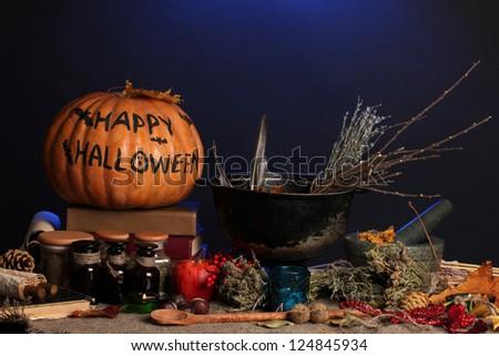 Scary halloween laboratory in blue light - stock photo