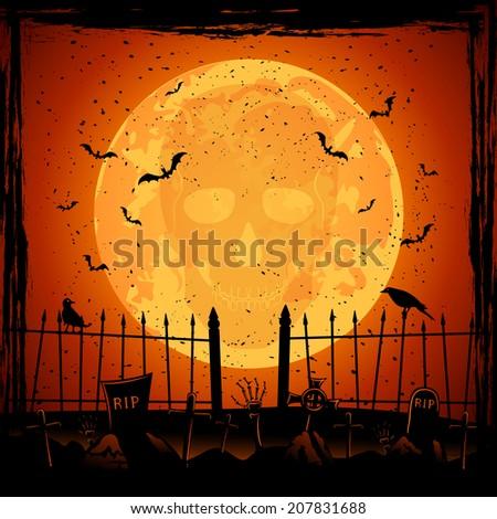Scary Halloween night background, skull on orange Moon background, illustration. - stock photo