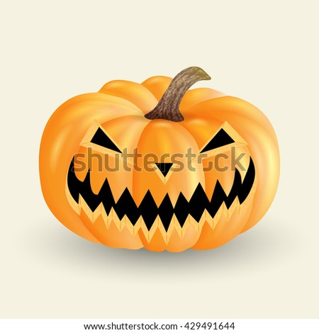 scary Halloween pumpkin isolated on a light background