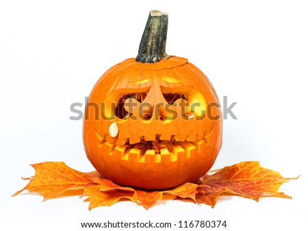 Scary Halloween pumpkin isolated on white background (Jack O Lantern) - stock photo