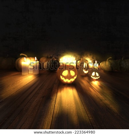 Scary halloween pumpkins and lit candles. High resolution. 3D render - stock photo