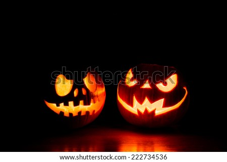 Scary Halloween Pumpkins Isolated On Black Stock Photo 222734536 ...