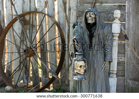 Scary Halloween Skeleton with Skull in Hand, Halloween Concept - stock photo