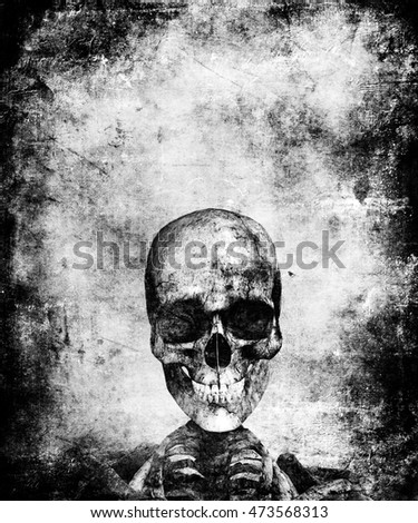 Scary halloween wallpaper with skeleton. Grunge abstract textured background