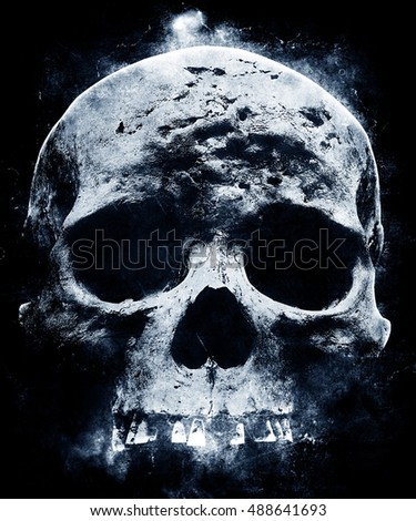 Scary halloween wallpaper with skull. Grunge awesome dark background