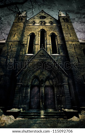 Scary Horror Church In The Winter Night