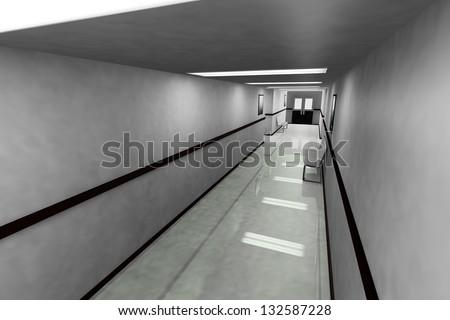 Scary Hospital Corridor - stock photo