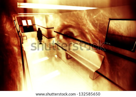 Scary Hosptial Corridor Yurei Ghost Appear - stock photo
