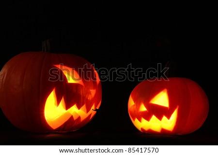 Scary jack-o-lantern - stock photo