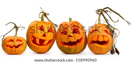 Scary Jack O Lantern halloween pumpkin  - stock photo