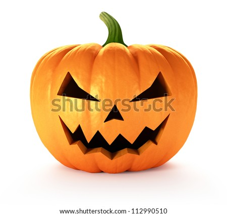 Scary Jack O Lantern halloween pumpkin, 3d render - stock photo