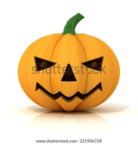 Scary Jack O Lantern. Halloween pumpkin, isolated on white - stock photo
