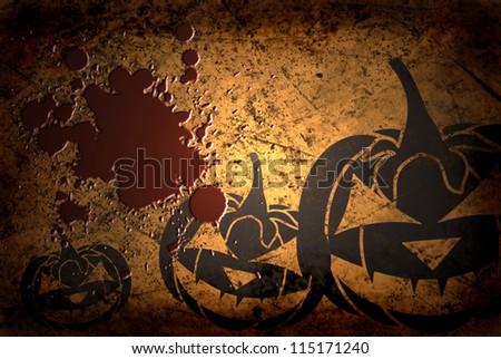 Scary Jack O Lantern halloween pumpkin on  grunge background with blood - stock photo