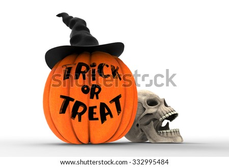 Scary Jack O Lantern halloween pumpkin wearing black witch hat and skull head isolated on white background, 3d render - stock photo